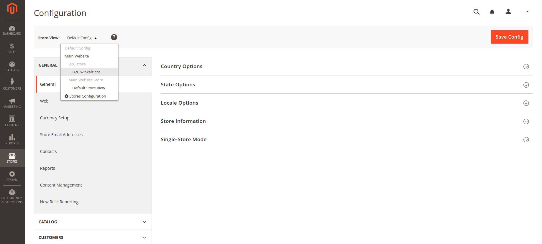 Een voorbeeld van hoe je in de Magento 2 backend eenvoudig een andere view selecteert van je multi-shop